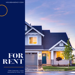 Blue and Orange, House For Rent Ad, Instagram Square For Rent Flyer