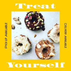 Bright Yellow Framed Photo Advertisement Donut