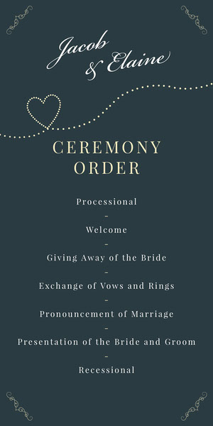 Navy Heart Elegant Calligraphy Wedding Program Programa de bodas