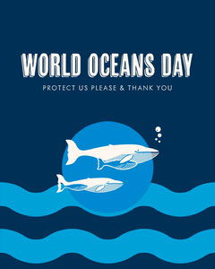 Bue World Oceans Day Instagram Portrait Graphic with Whales Fish