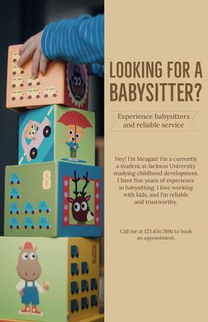 Beige With Colorful Blocks Babysitter Flyer Aankondiging