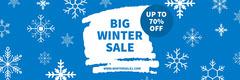 Winter Sales Snowflake Web Banner Blue