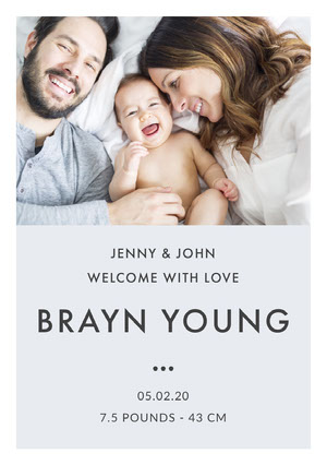 Birth Announcement Card with Photo of Parents and Baby Boy Birth Announcement