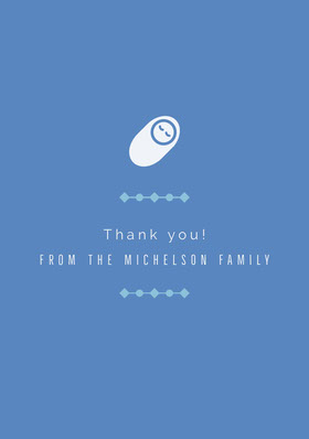 White and Blue Thank You Card Carte de remerciement