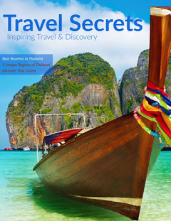 Blue and Old Boat Travel Magazine Cover Boats