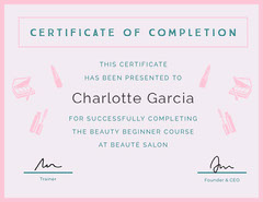 beauty salon certificate of completion  Beauty