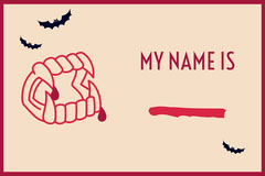 Beige and Red Vampire Fangs and Bats Halloween Party Name Tag Halloween Party Name Tag