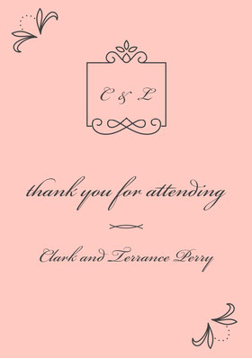 Pink and Black Wedding Thank You Card Thank You Card