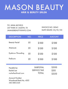 Blue Hair and Beauty Salon Invoice Beauty