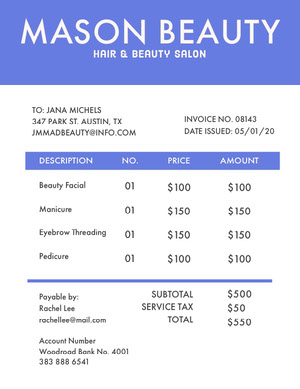 Blue Hair and Beauty Salon Invoice 청구서