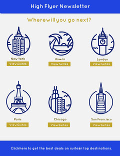 Blue and Gold Illustrated Travel Destinations Newsletter Travel