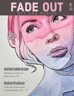 Pink and Gray Graphic Design Magazine Cover with Illustration of Woman Designer