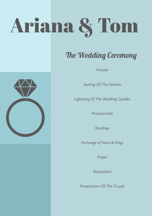 Blue Wedding Ceremony Program Programa de bodas
