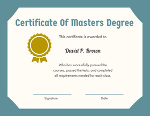 Blue and Gold Certificate Of Masters Degree with Medal Certificat
