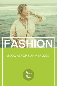 Green Fashion Model with Ocean Pinterest Post  Summer