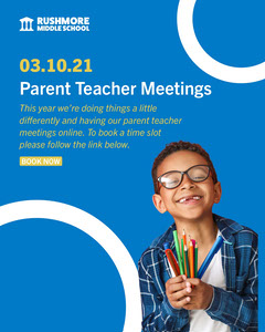 blue white yellow parent teacher meeting poster instagram portrait  Teacher