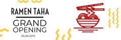 White Yellow and Red Grand Opening Banner Ramen