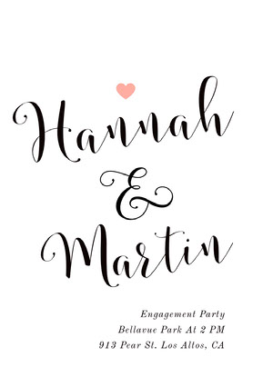 Black and White Engagement Party Announcement Annonce