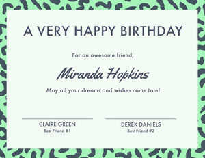 Green Birthday Certificate from Friends Birthday Certificate