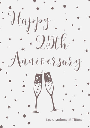 Gray Illustrated 25th Happy Marriage Anniversary Card with Champagne Toast Carte d'anniversaire de mariage