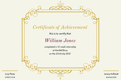 Internship Certificate Frame