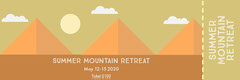 Orange Illustrated Mountain Retreat Ticket Event Ticket
