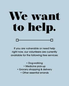Blue and Black Typography Coronavirus Help and Assistance Volunteer Flyer Volunteer
