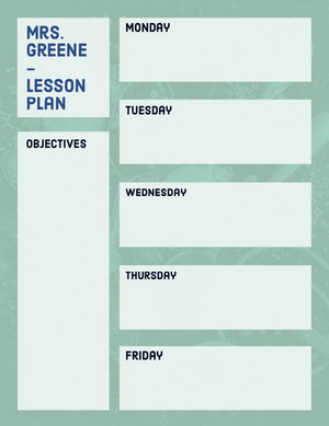 Green School Weekly Lesson Plan Unterrichtsplan