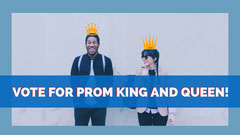 Blue and White Prom Night Couple Social Post Voting