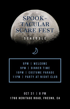 Moon Halloween Costume Party Schedule Party