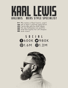 Beige And Grey Karl Lewis Media Kit Career Poster