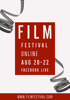 Grey Red Film Festival Flyer A5 Film Festival Poster