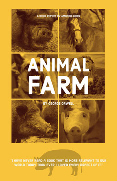 Yellow and White Animal Farm Book Report Poster Dog Flyer