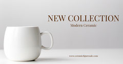 White and Grey Modern Ceramic Advertisement New Collection