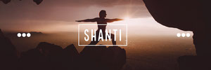 White With Silhouette Of Person Shanti Banner Yoga Posters