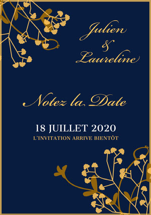 gold and blue wedding invitations  Invitation de mariage