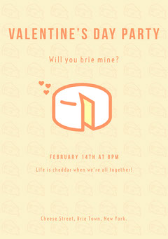 Yellow Cheese Pun Valentine's Day Party Invitation Card Cheese