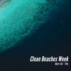 Blue and Black Clean Beaches Week Instagram Graphic Beach