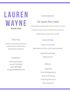 White and Violet Lauren  Wayne Resume Chef