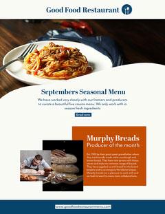 blue white orange the good food restaurant newsletter Food Flyer