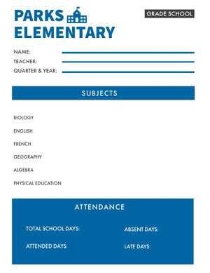 Blue Elementary School Report Card Report Card