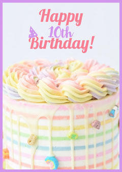 Pastel Colored Happy Birthday Card with Cake Cakes