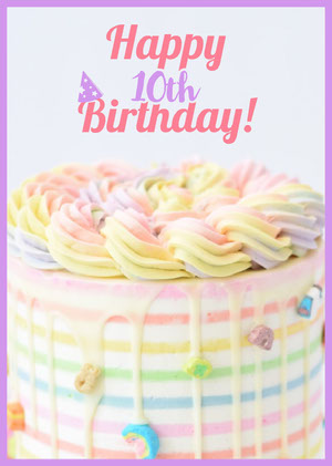 Pastel Colored Happy Birthday Card with Cake Kids Birthday Card