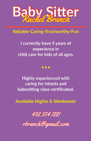 Purple and Yellow Babysitting Service Flyer Babysitting Flyer