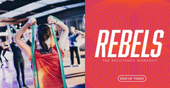 Red and Bright Toned Gym Ad Facebook Banner  Healthy