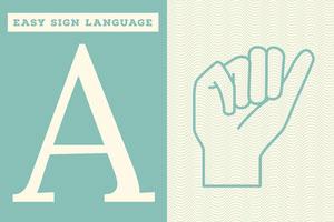 Blue, Light Toned Sign Language Letter, Flashcard Fiche mémoire