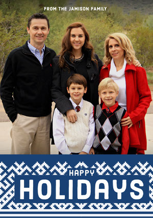 Blue, White, Warm Toned Christmas Card Christmas Card