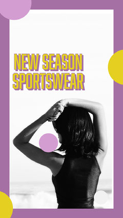 Purple and Yellow Frame New Season Sportswear Instagram Story Ad New Collection