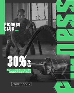 Grey with Green Gothic Type Fitness Club Coming Soon Instagram Portrait Fitness