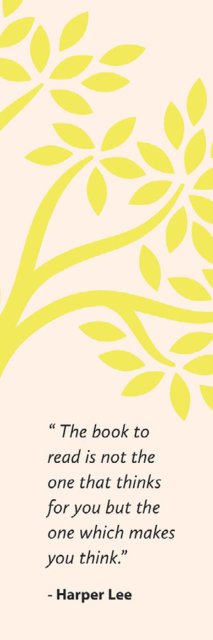 Yellow Floral Bookmark with Quote on Reading Bookmark